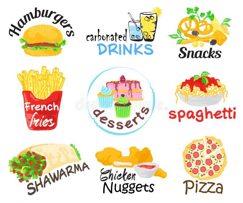 grafiki bąbla psa używać fasta food gradientów hamburgeru gorące warstwy ustalony kanapka żadny tekst używać ilustracja wektor