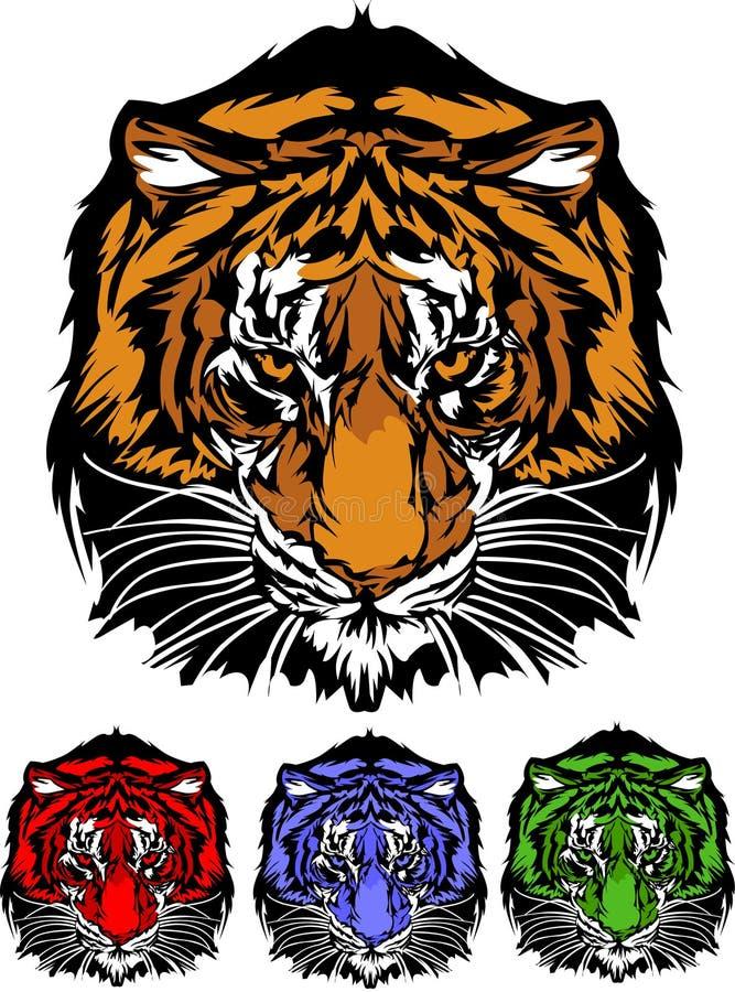 grafiki kierowniczy loga maskotki tygrys ilustracja wektor