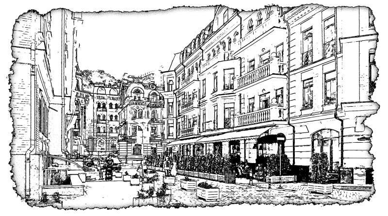 Grafiki Vozdvizhenka Kijów czarny i biały rysunkowa ilustracja ilustracji