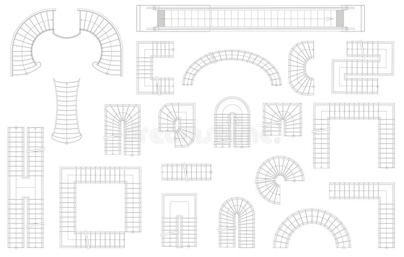 Grafiksatz Treppe in den verschiedenen Formen Beschneidungspfad eingeschlossen Auch im corel abgehobenen Betrag Getrennt auf weiß vektor abbildung