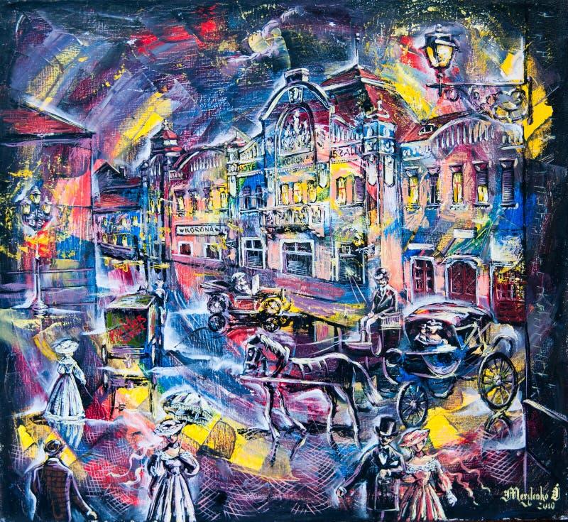 Grafisch beeld van de oliestad van nacht royalty-vrije illustratie