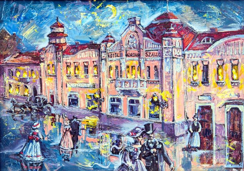 Grafisch beeld van de oliestad van nacht royalty-vrije stock fotografie