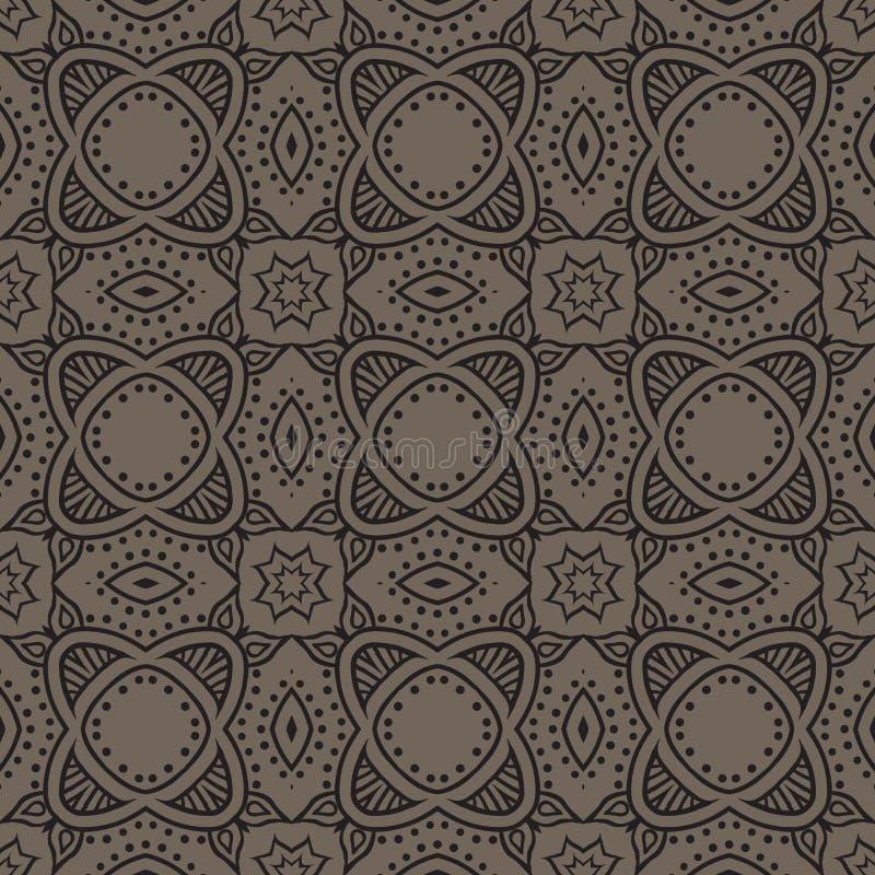 Grafisch bloemen gedetailleerd naadloos vectorpatroon royalty-vrije illustratie