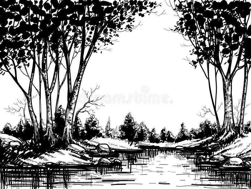 Grafisch boslandschap stock illustratie