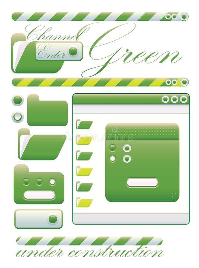 Grafisch de interface groen kanaal van het Web stock illustratie