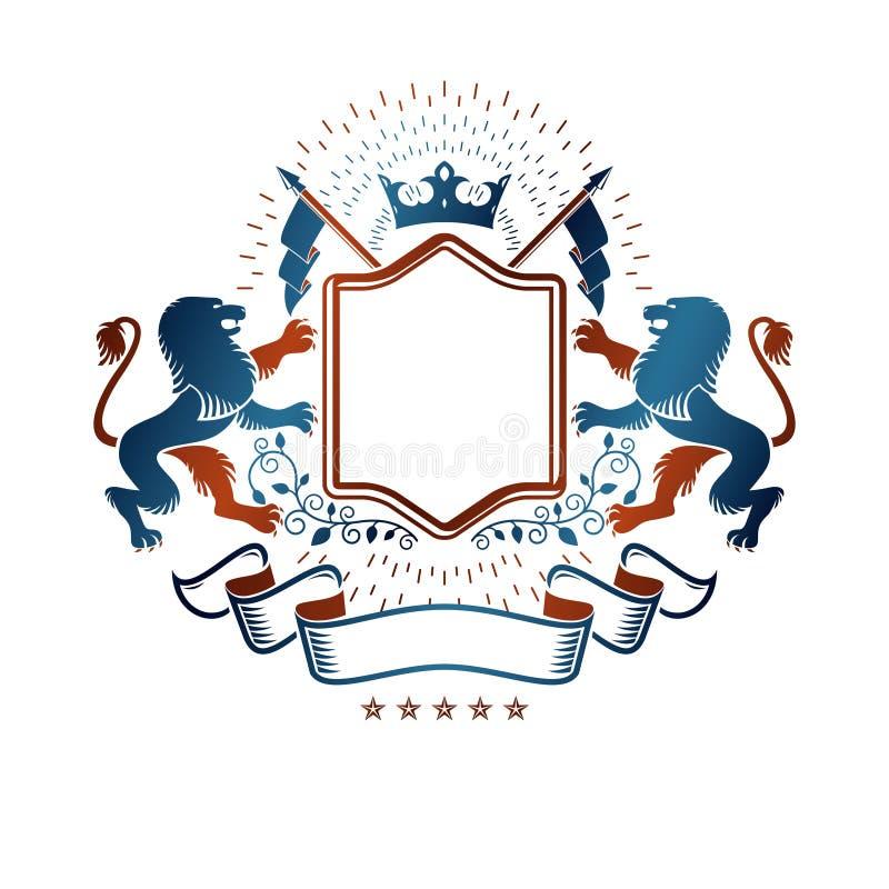 Grafisch die embleem met Moedig Lion King, monarchkroon wordt samengesteld en stock illustratie