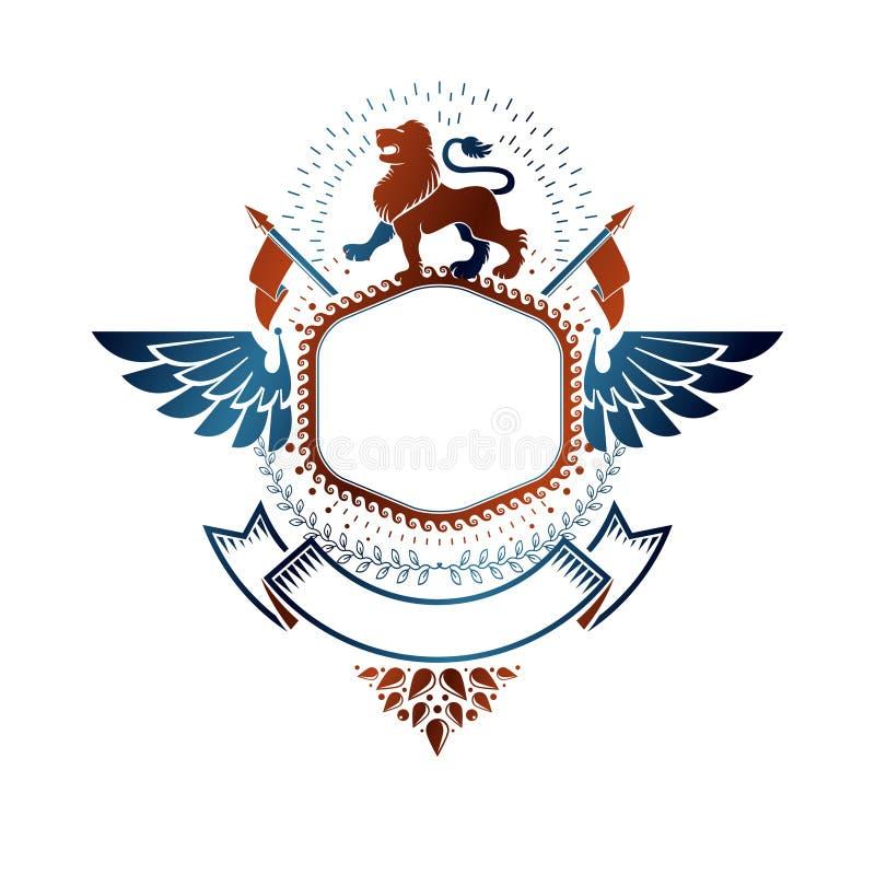 Grafisch die embleem met Moedig Lion King, vlaggen en lint wordt samengesteld royalty-vrije illustratie