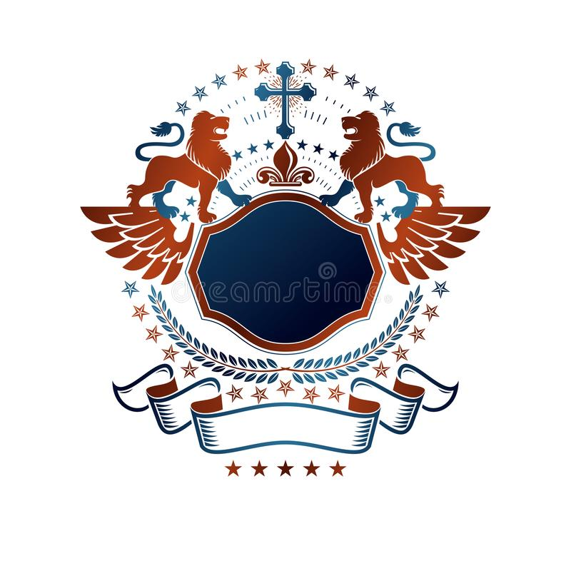 Grafisch embleem met Leeuw heraldisch dierlijk element en Christendom godsdienstig kruis Heraldisch ge?soleerd Wapenschild decora stock illustratie