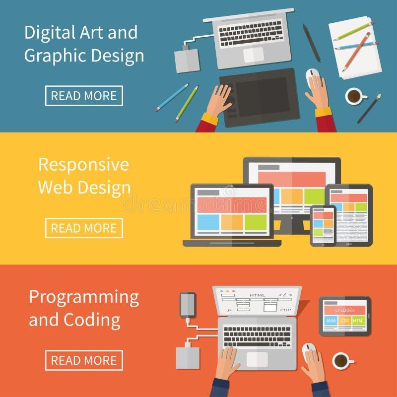 Grafisch en Webontwerp, programmering, digitale kunst, stock illustratie