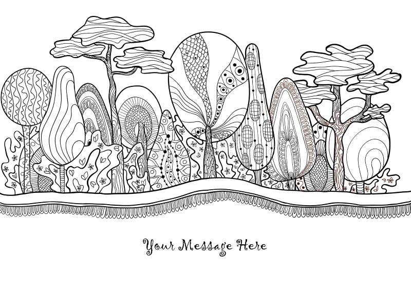 Grafisch fantastisch hand getrokken bos vector illustratie