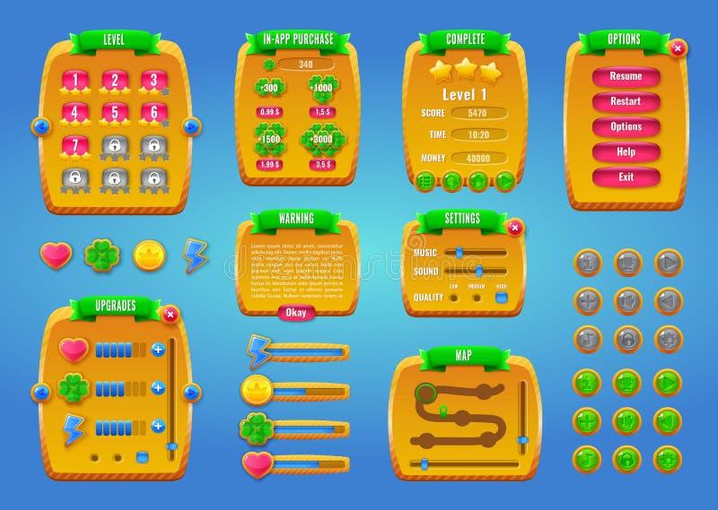 Grafisch gebruikersinterface GUI voor mobiele spel of app Ontwerp, knopen en pictogrammen Vector illustratie stock illustratie