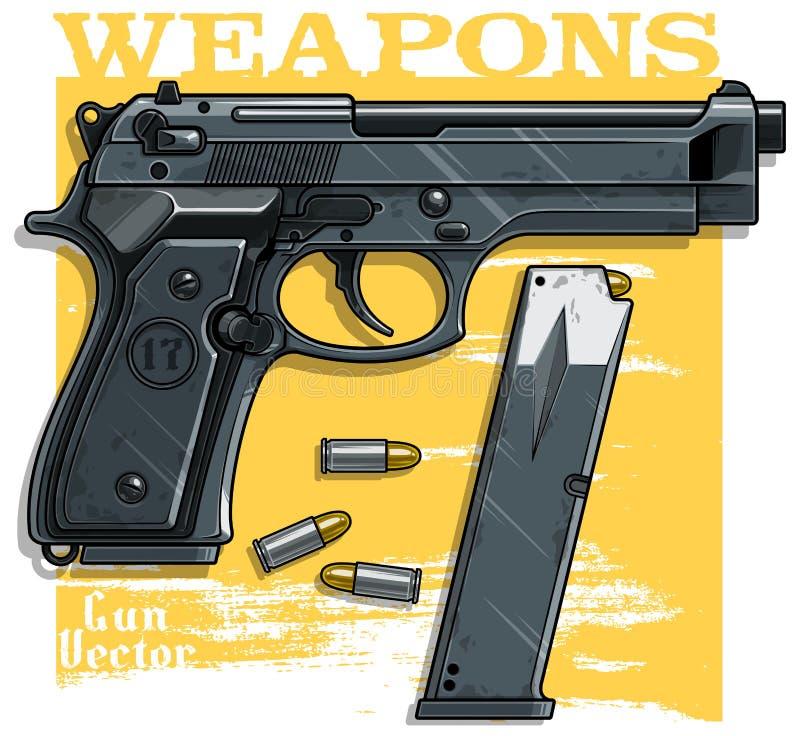 Grafisch gedetailleerd pistoolpistool met munitie-klem vector illustratie