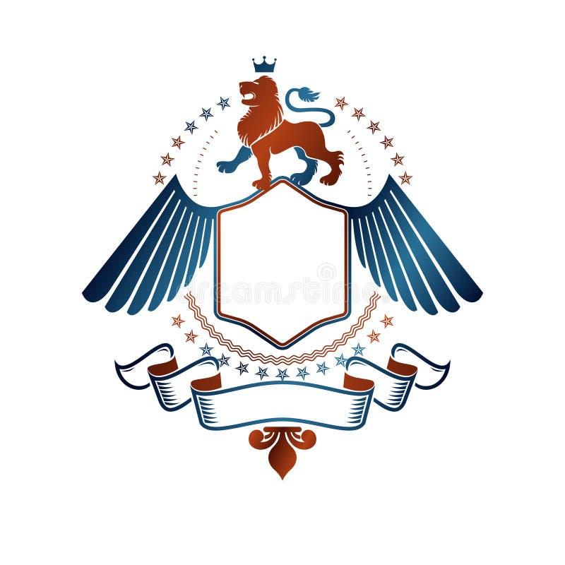 Grafisch gevleugeld die embleem met Moedig Lion King, keizercro wordt gecreeerd stock illustratie