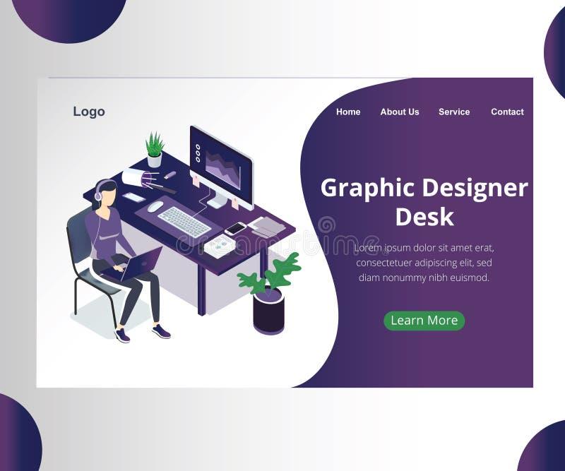 Grafisch isometrisch het Kunstwerkconcept van ontwerperDesk een ontwerper die voor een cliënt werken stock illustratie