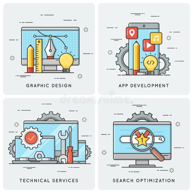Grafisch Ontwerp Mobiele app ontwikkeling De technische Diensten SEO royalty-vrije illustratie