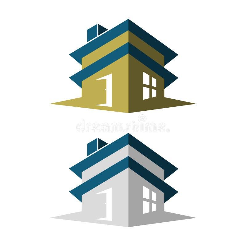 Grafisch ontwerp voor flatgebouw met vensters en deur op de witte achtergrond vector illustratie