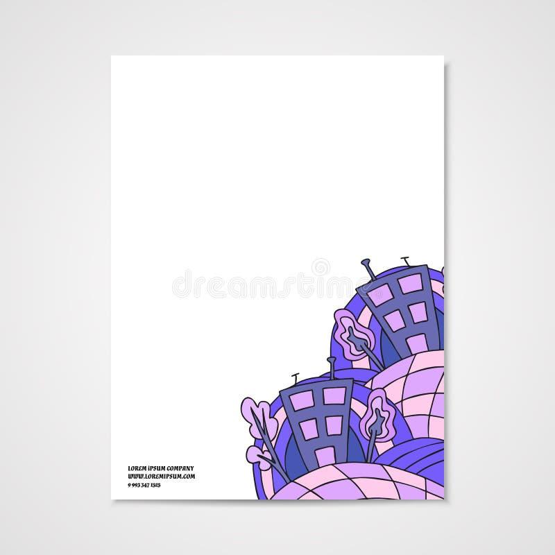 Grafisch ontwerpbriefhoofd met krabbel abstract huis royalty-vrije illustratie