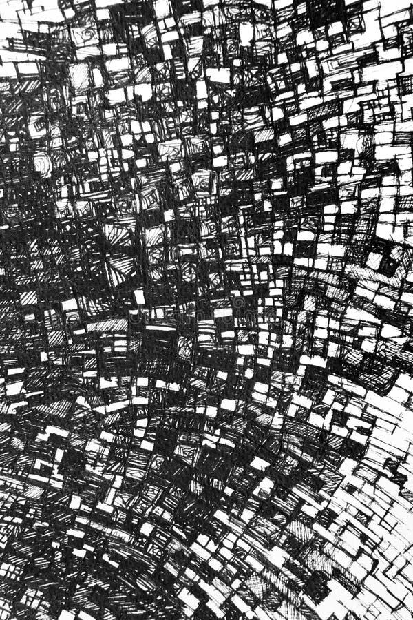 Grafisch ontwerpelement met geometrische lijnen die tot vele die dozen, hand leiden op witte achtergrond wordt getrokken stock illustratie