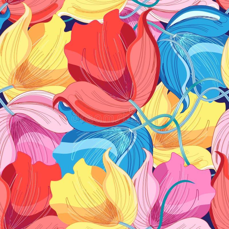 Grafisch patroon van kleurrijke bloemen royalty-vrije illustratie
