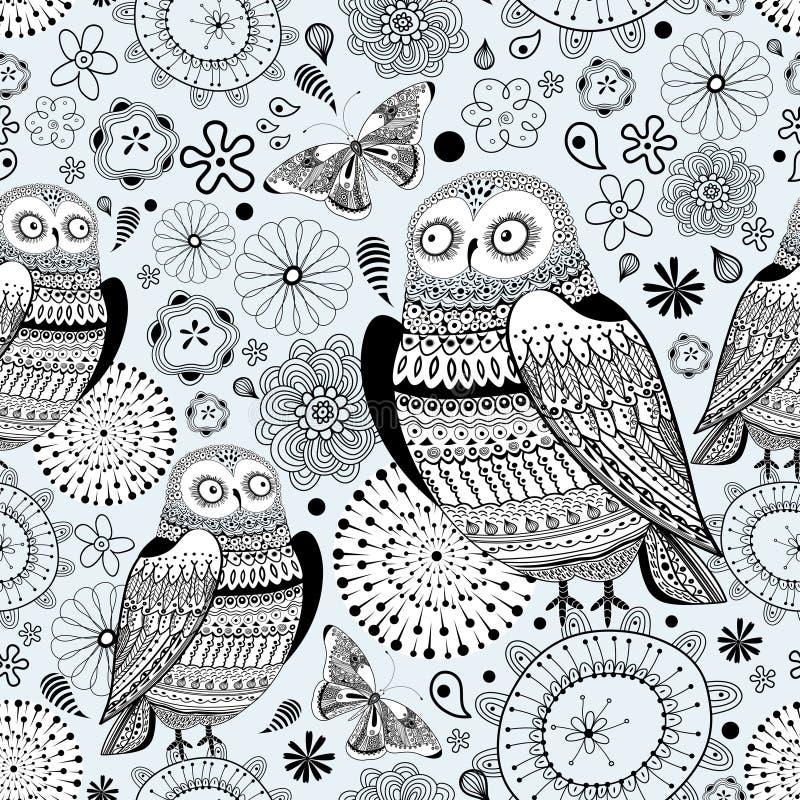 Grafisch patroon van uilen en vlinders vector illustratie