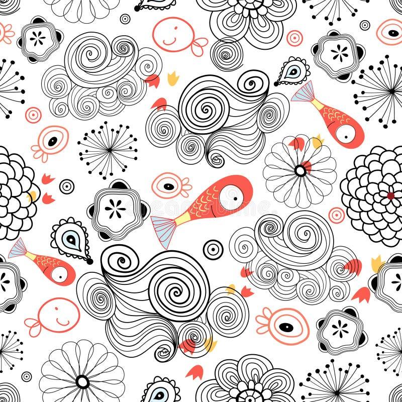 Grafisch patroon van wolken en vissen royalty-vrije illustratie