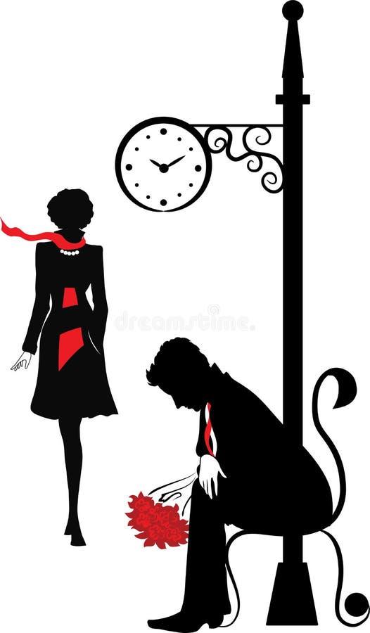 Grafisch silhouet van de wating man royalty-vrije illustratie