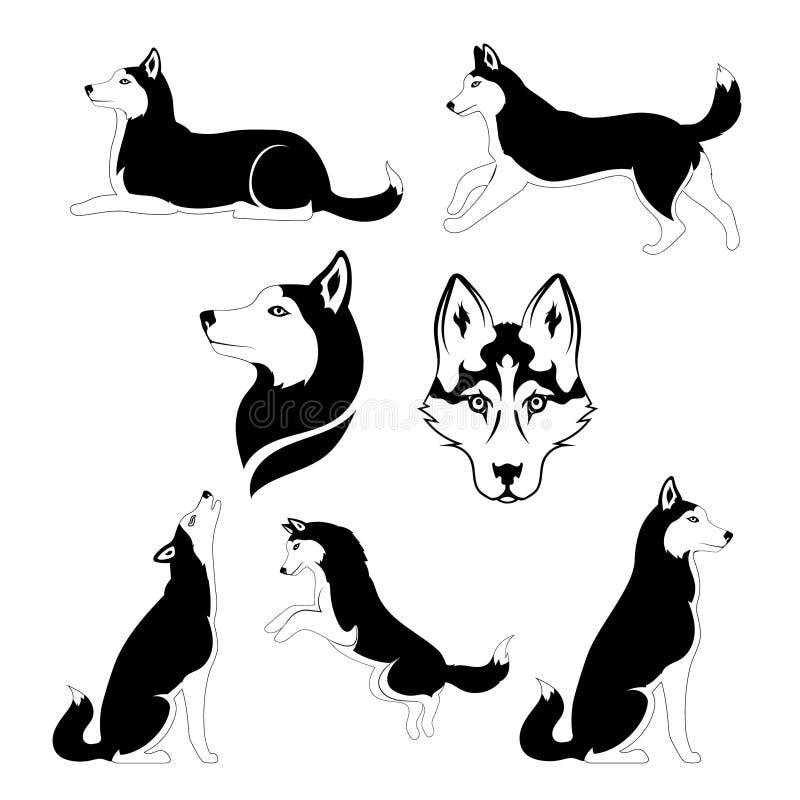 Grafisch silhouet van een hond van ras Siberiër vector illustratie