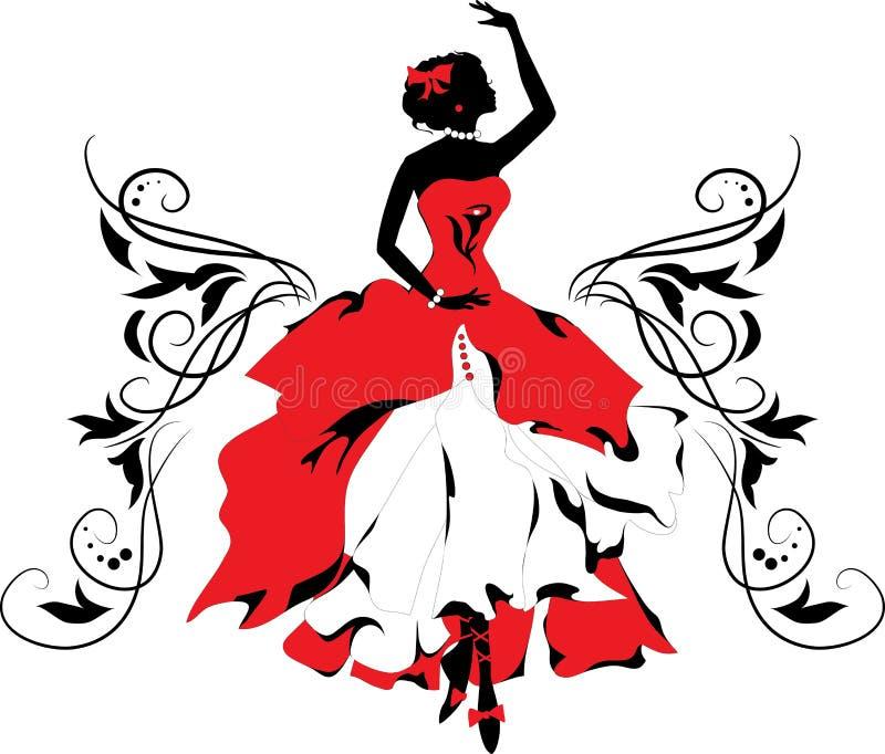 Grafisch silhouet van een vrouw. De reeks van Isabelle stock illustratie