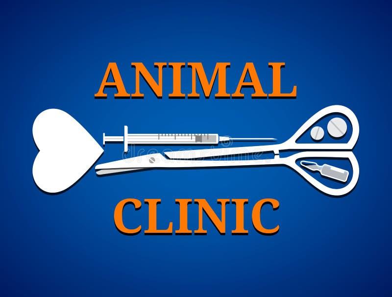 Grafisch symbool voor dierlijke kliniek vector illustratie