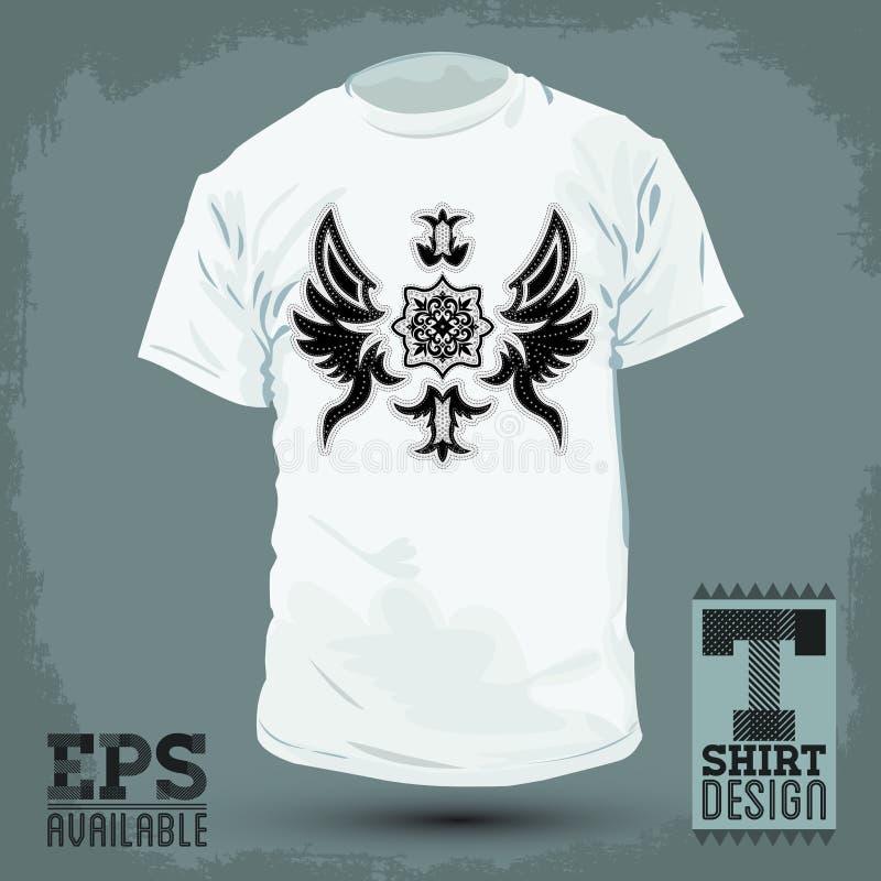 Grafisch T-shirtontwerp - Abstract Luxueus heraldisch ontwerp stock illustratie
