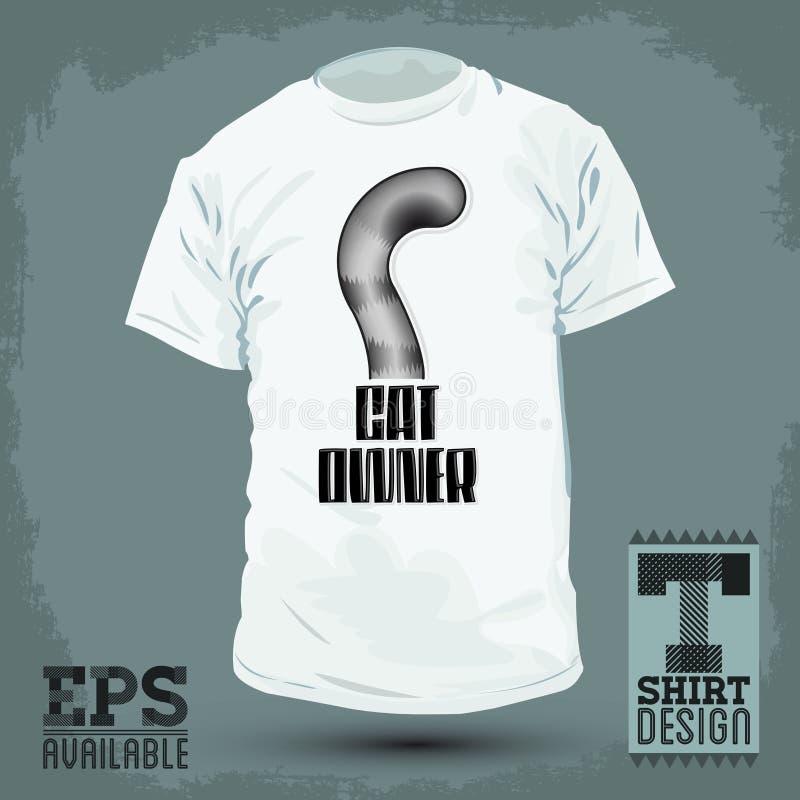 Grafisch T-shirtontwerp - Cat Owner, het Pictogram van de Kattenstaart - embleem stock illustratie
