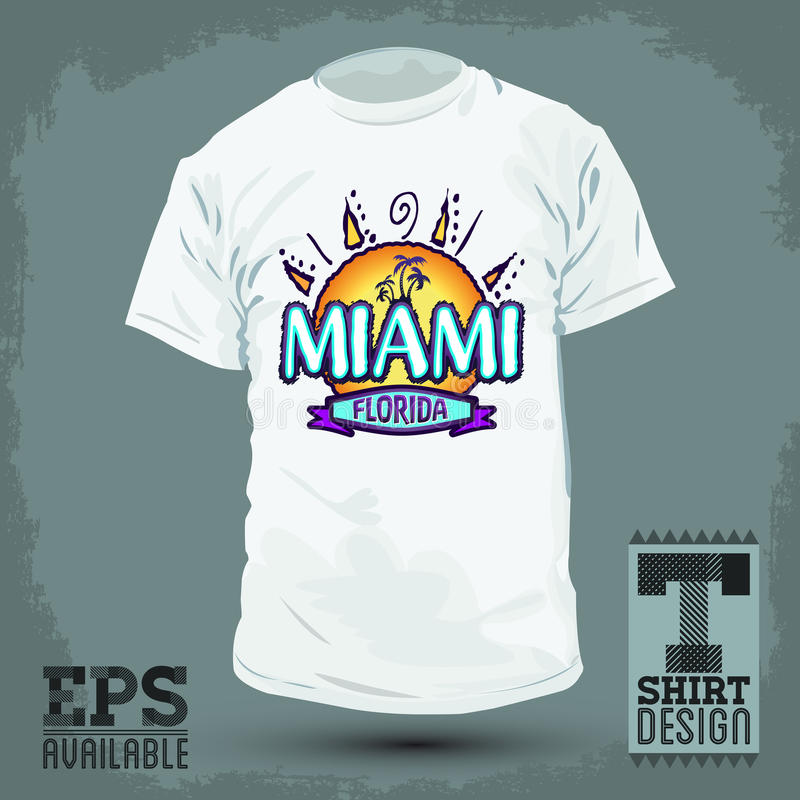 Grafisch T-shirtontwerp - Miami Florida royalty-vrije illustratie