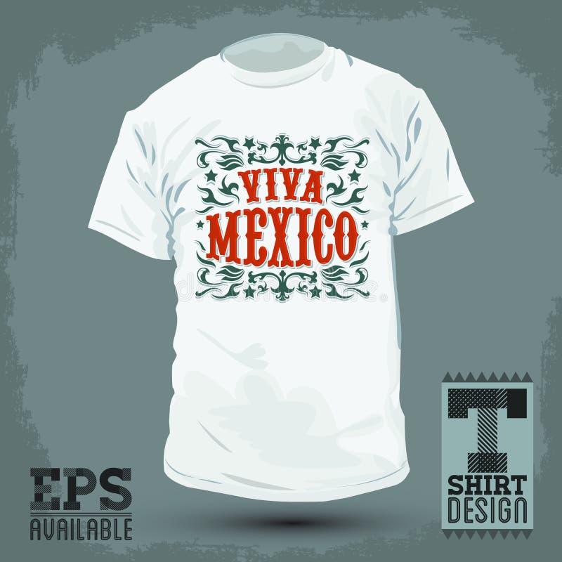 Grafisch T-shirtontwerp - Viva Mexico-kenteken stock illustratie