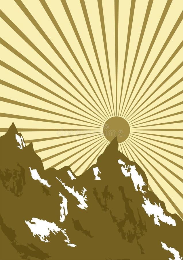 Grafisch van zon over bergen stock illustratie