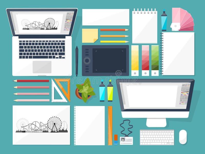 Grafisch Webontwerp Het trekken en het schilderen ontwikkeling Illustratie, freelance schetsen, Gebruikersinterface Ui Computer stock illustratie