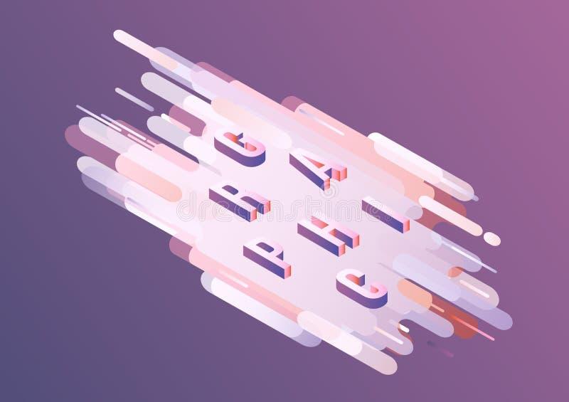 Grafisch woord isometrisch ontwerp - volumetrische brieven op violette gradiënt abstracte achtergrond vector illustratie