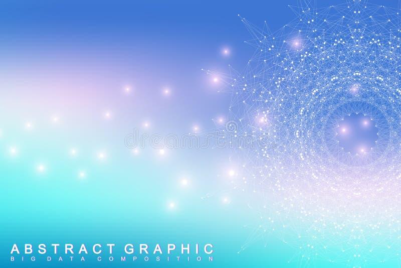 Grafische abstracte mededeling als achtergrond Grote complexe gegevens vector illustratie