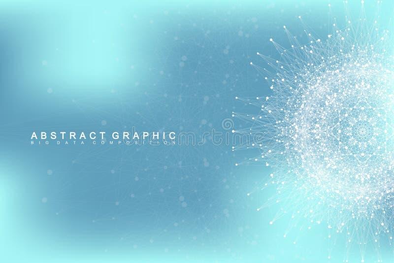 Grafische abstracte mededeling als achtergrond Grote gegevensvisualisatie stock illustratie
