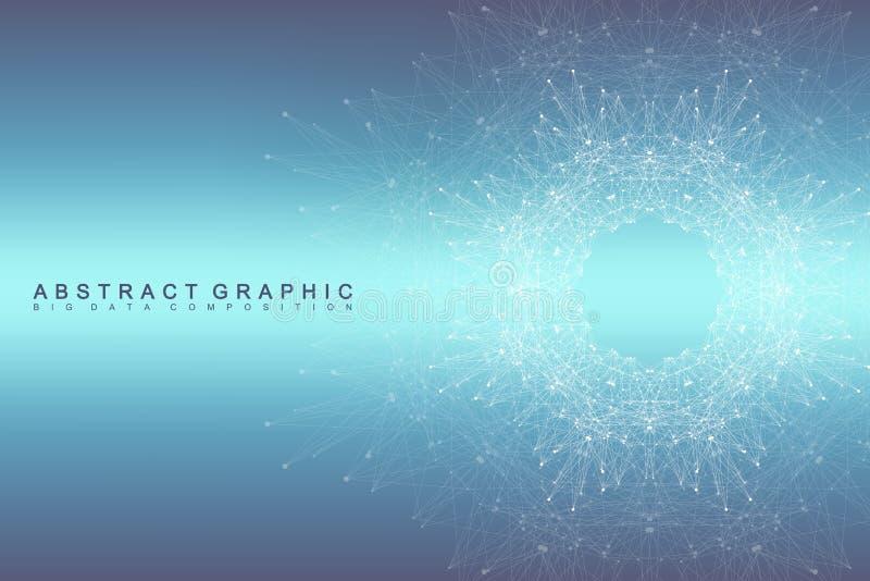 Grafische abstracte mededeling als achtergrond Grote gegevensvisualisatie Verbonden lijnen met punten Sociaal Voorzien van een ne royalty-vrije illustratie