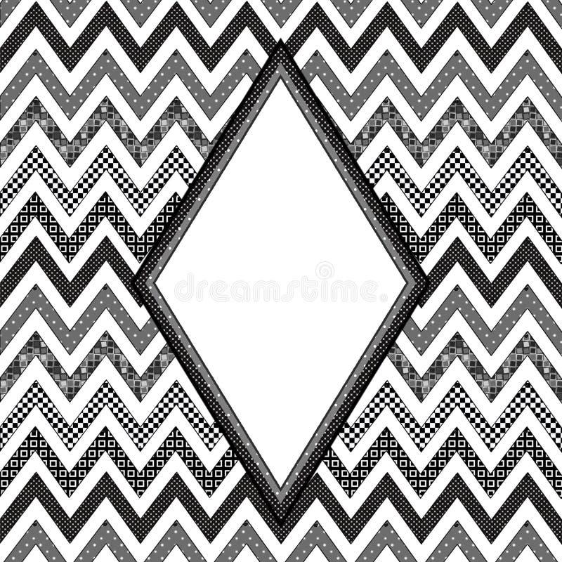 Grafische achtergrond in Abstract Chevronpatroon elk gevuld met individuele patronen De Tekstgebied van de diamantvorm vector illustratie