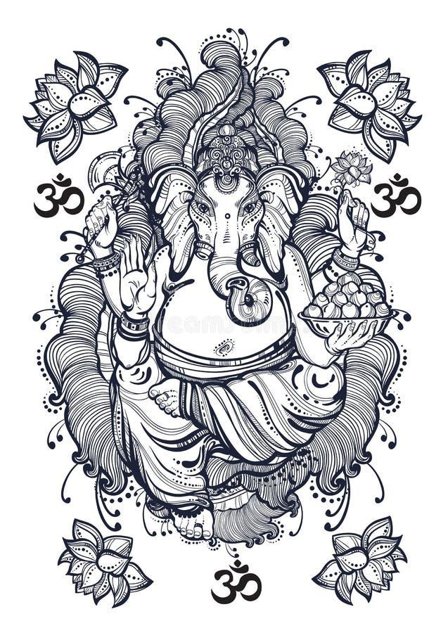 Grafische Art Lord Ganesha der Weinlese mit schönen Florenelementen Hochwertige Vektorillustration, Tätowierungskunst, Yoga, indi stock abbildung