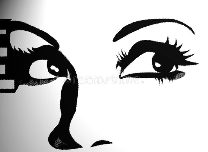 Grafische Augen, die oben in der Leuchte schauen lizenzfreie abbildung