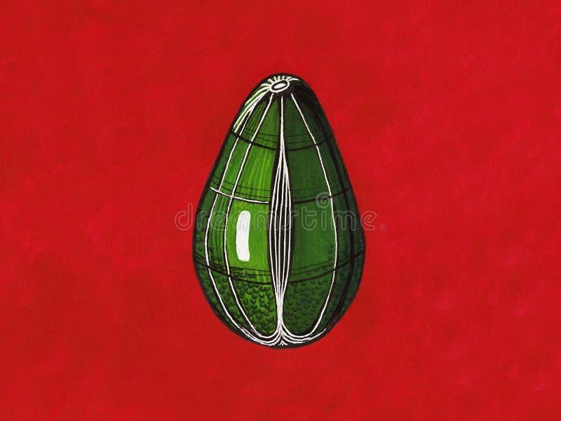 Grafische Avocado auf einem roten Hintergrund lizenzfreie stockfotos