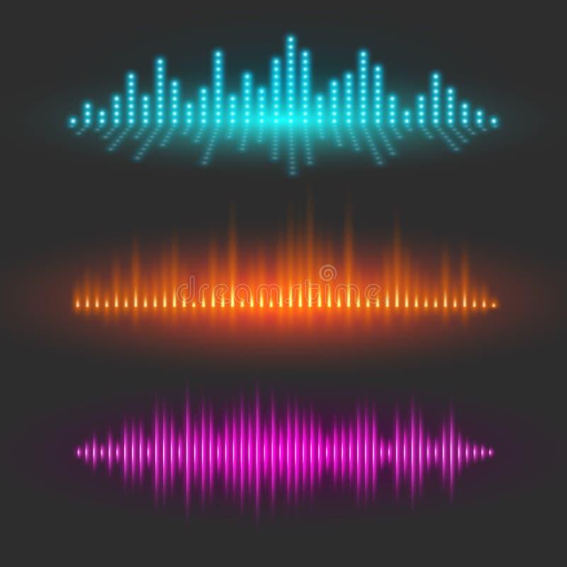 Grafische Beschreibung der Schallwelle, abstrakte Wellenformen lizenzfreie abbildung