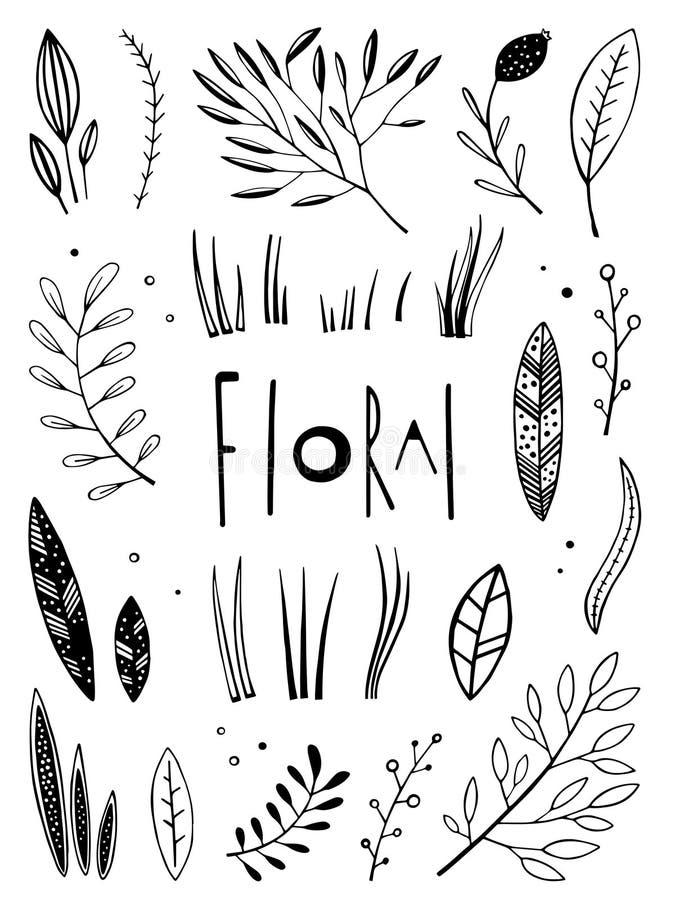 Grafische bloemen geplaatste elementen royalty-vrije stock fotografie