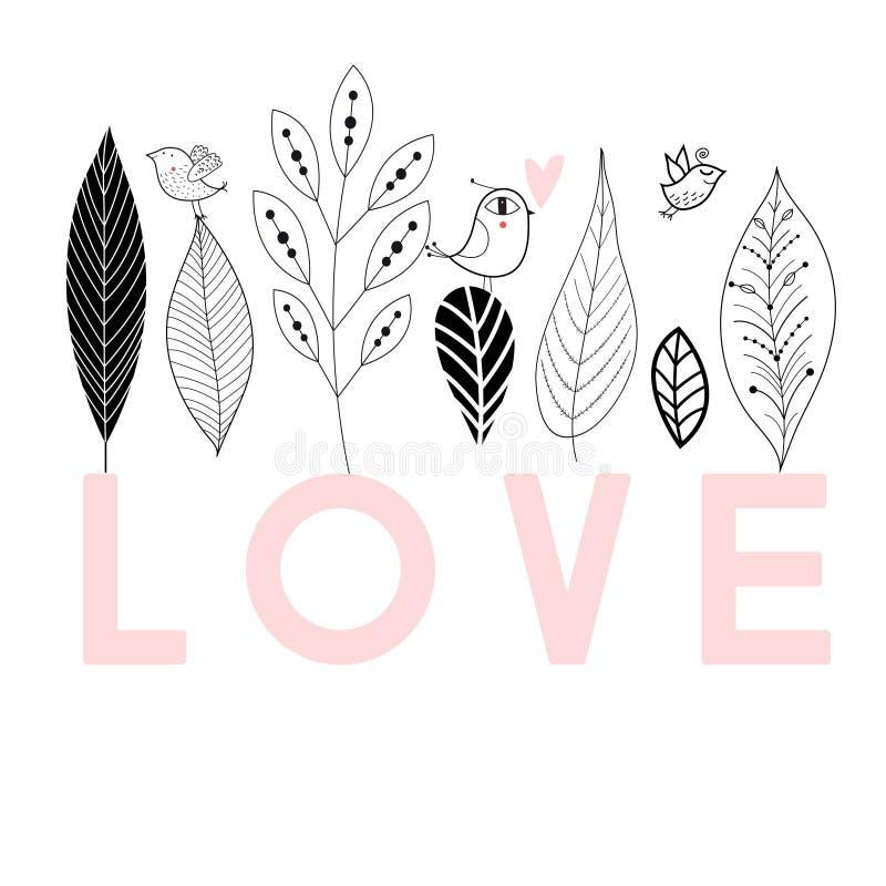 Grafische Blumenkarte mit Vogel in der Liebe stock abbildung