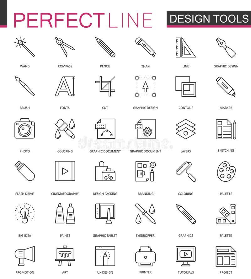 Grafische de hulpmiddelenpaletten van het ontwerpprogramma De dunne geplaatste pictogrammen van het lijnweb Het ontwerp van het d royalty-vrije illustratie