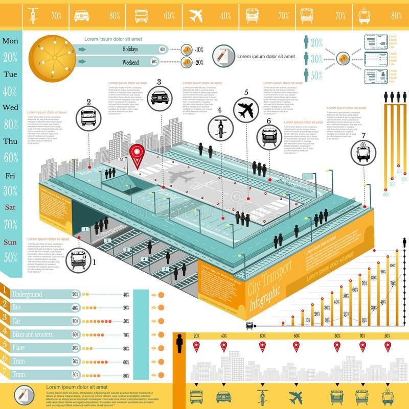 Grafische de informatie van het stadsvervoer royalty-vrije illustratie