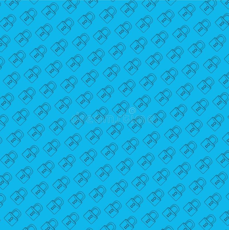 grafische de lijnillustratie van het slot veilige patroon vector illustratie