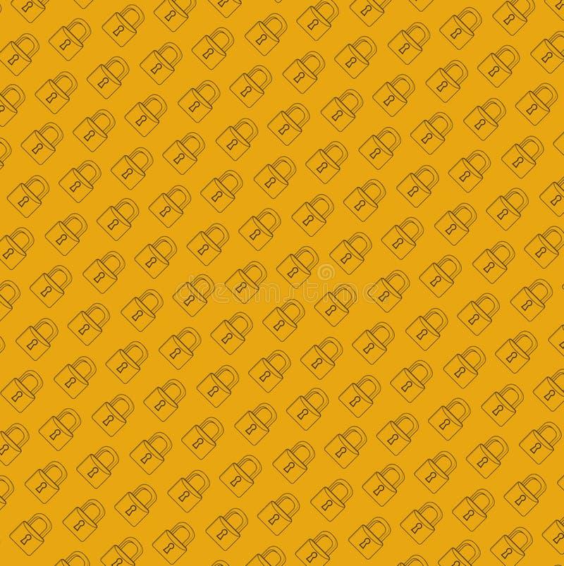 grafische de lijnillustratie van het slot veilige patroon stock illustratie